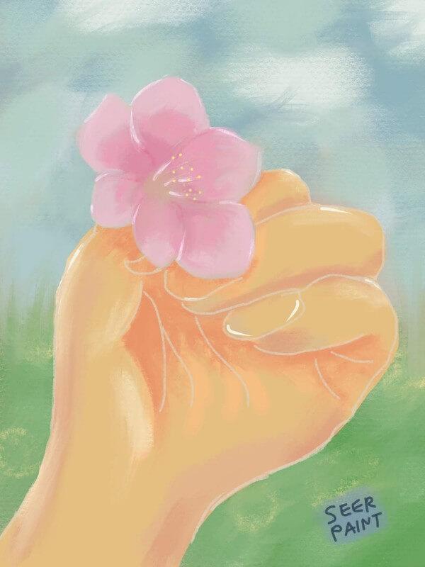「桜をその手に」パステル調|Procreate